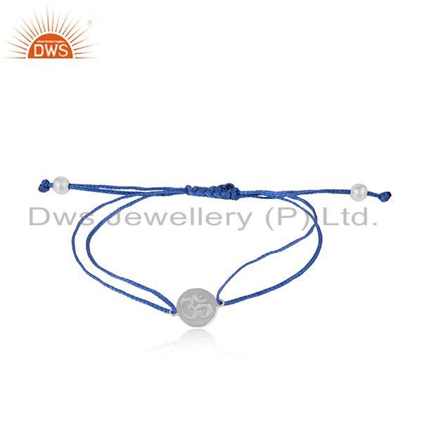 Blue color dori rhodium on silver om engraving bracelet jewelry