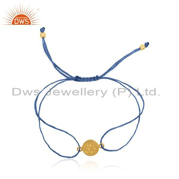 Blue Color Dori 18k Gold Plated Silver OM Engraving Bracelet Jewelry