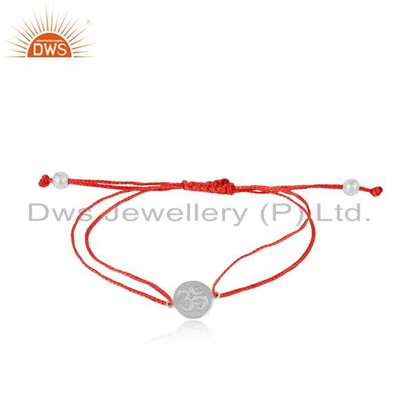 Red Color Dori Rhodium on Silver OM Engraving Bracelet Jewelry