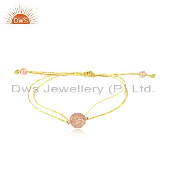 Yellow Color Dori Rose Gold On Silver OM Engraving Bracelet Jewelry