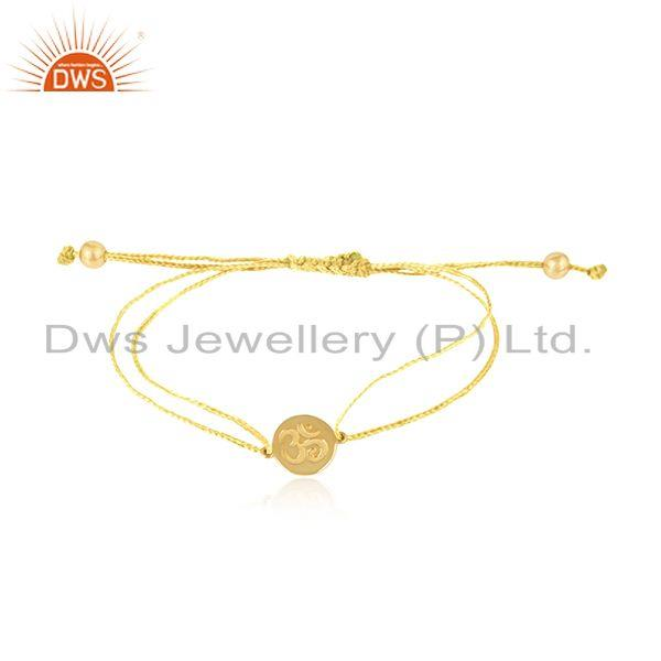 Yellow Color Dori 18k Gold Plated Silver OM Engraving Bracelet Jewelry
