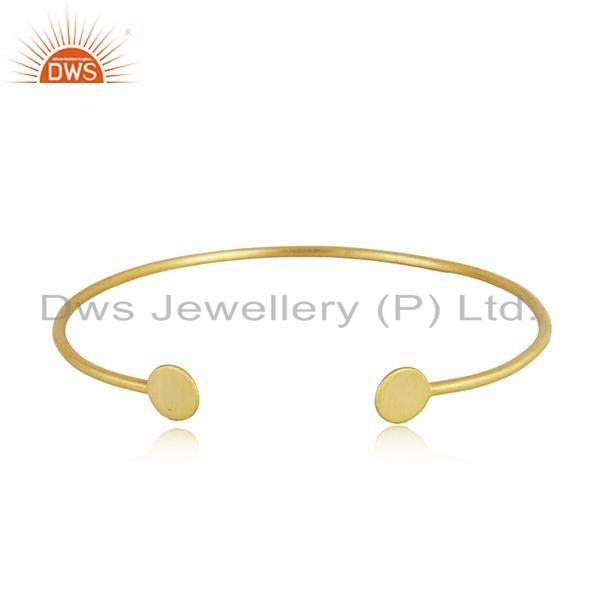 Yellow gold on 925 silver handmade cuff bangle jewelry for womens
