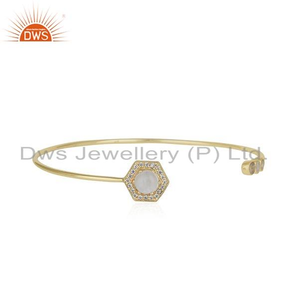 Rainbow Moonstone CZ Gemstone Gold Plated Silver Cuff Bangle Jewelry