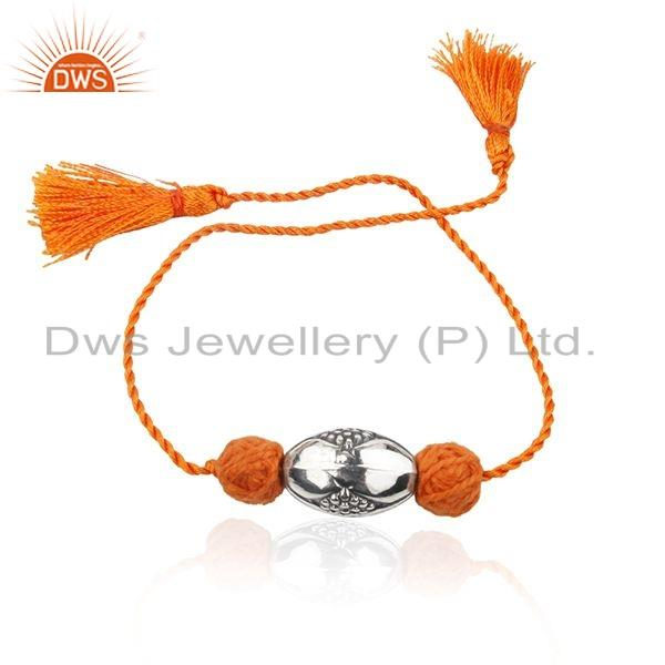 Designer Sterling Silver Oxidized Orange Macrame Bracelet Jewelry
