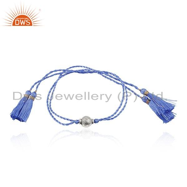Designer Oxidized Silver Bead Blue Macrame Bracelet Jewelry For Girls