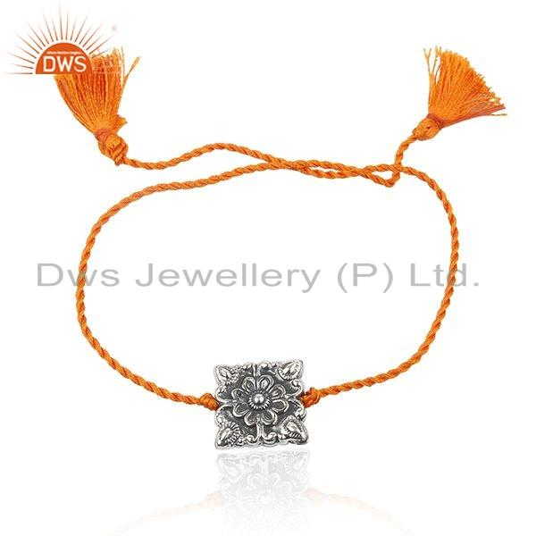 925 Silver Oxidized Handmade Orange Macrame Bracelet Jewelry For Women