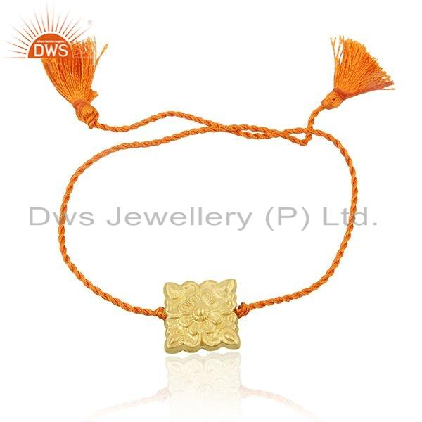 Handmade Gold Plated Silver Orange Macrame Bracelet For womens