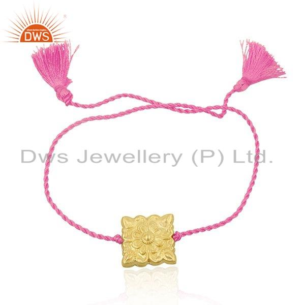 Pink Color Dori Designer Yellow Gold Plated Silver Macrame Bracelet