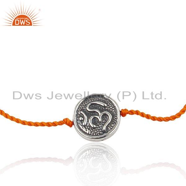 Orange Color Macrame Oxidized OM Sterling Silver Charm Bracelet