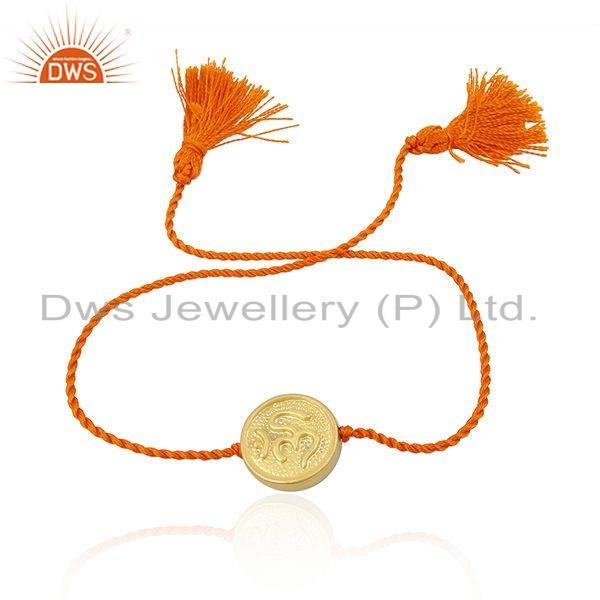 Gold Plated 925 Silver OM Design Orange Macrame Bracelet Jewelry