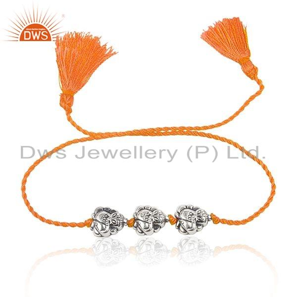 Designer Oxidized 925 Silver Orange Macrame Girls Bracelet Jewelry