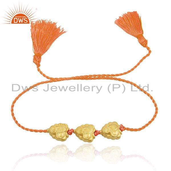 Designer Gold Plated Silver Bead Orange Macrame Bracelet Jewelry