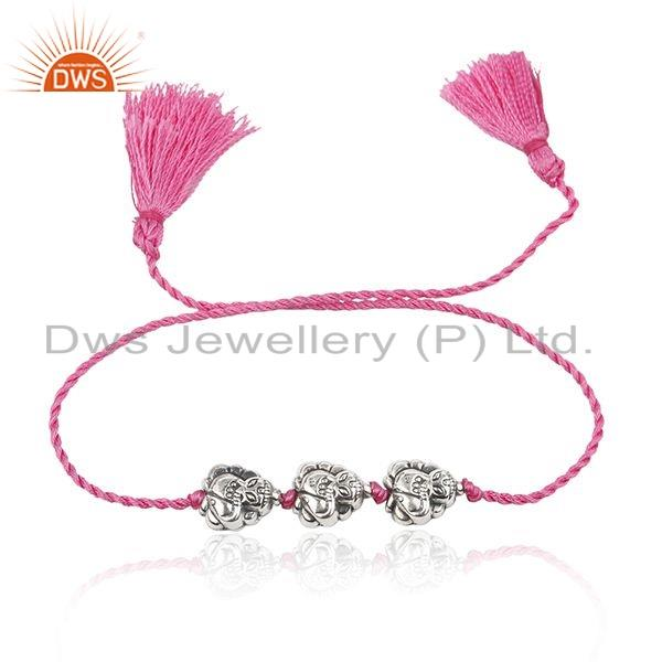 Oxidized Design Sterling Silver Bead Pink Dori Bracelet Jewelry