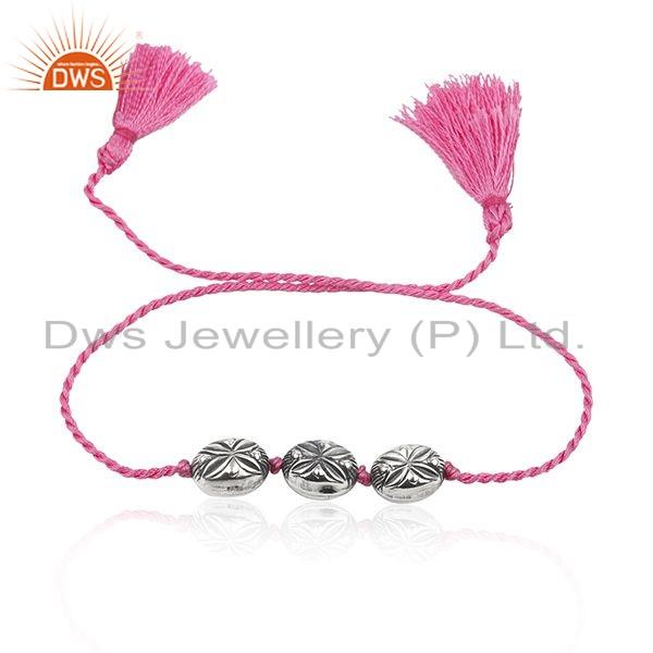 Oxidized Plated 925 Silver Pink Macrame Bracelet Jewelry For Girls