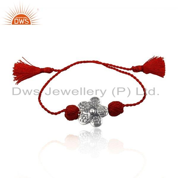 Flower Design Oxidized Silver Red Color Macrame Braelet Jewelry