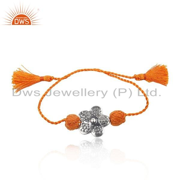 Indian Oxidized Sterling Silver Orange Macrame Bracelet For Girls