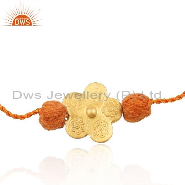 Yellow Gold Plated Flower Silver Orange Macrame Bracelet Jewelry
