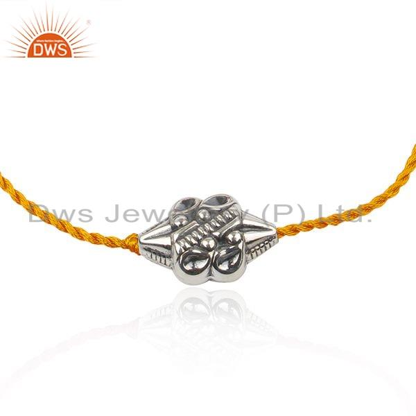 925 Sterling Silver Oxidized Bead Orange Macrame Bracelet Jewelry