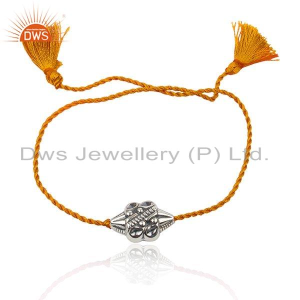 Orange Macrame Dori 925 Sterling Silver Bead Bracelet Jewelry