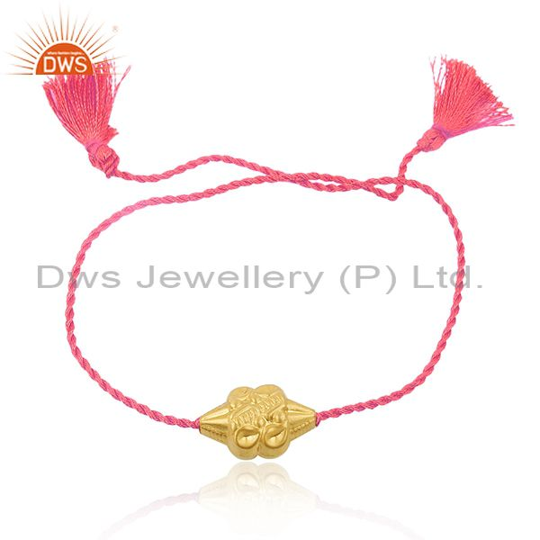 18k Gold Plated Designer Silver Bead Pink Macrame Bracelet Jewelry