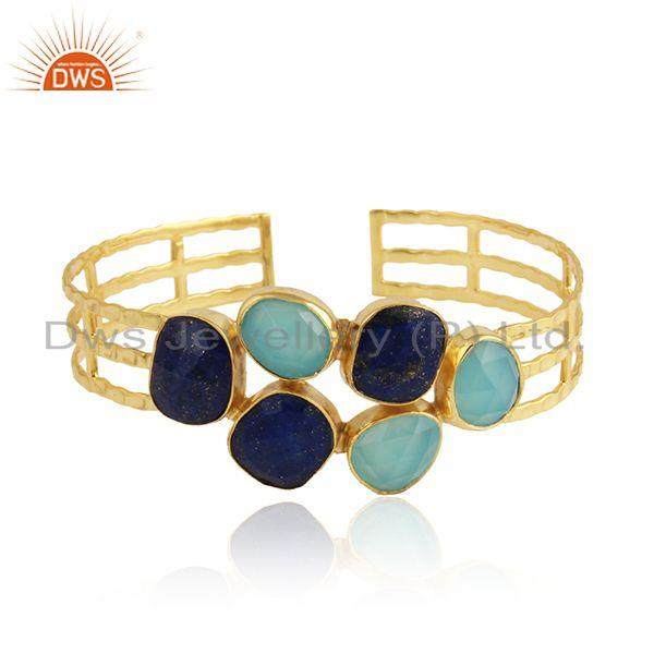 Aqua Chalcedony Lapis Gemstone Gold Plated Silver Bangles Jewelry