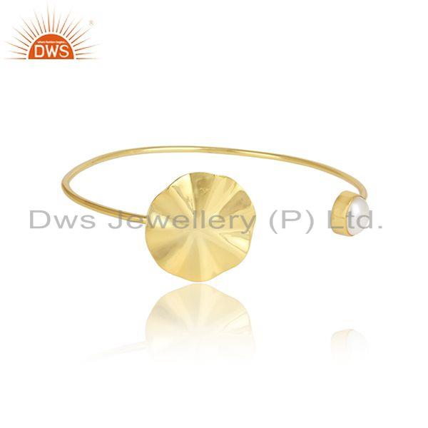 Wavy Disc Designer Gold Plated Silver Pearl Gemstone Cuff Bangles