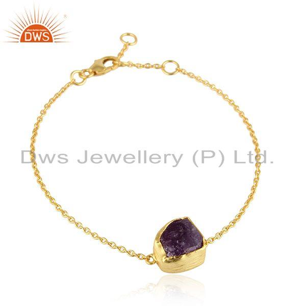Amethyst Gemstone New Design Gold Plated Silver Chain Bracelet