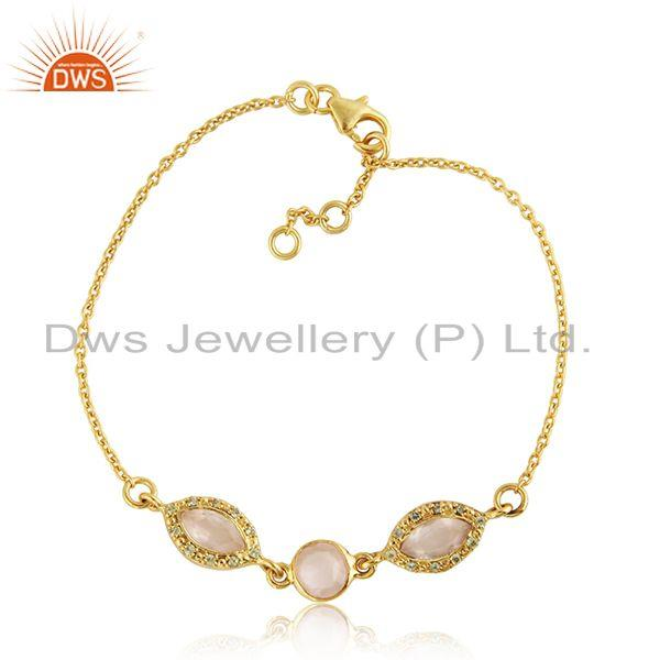 Peridot Rose Quartz Gemstone Designer Gold Plated Silver Bracelet