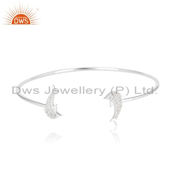 Fish design 925 sterling silver white zircon gemstone cuff bangle