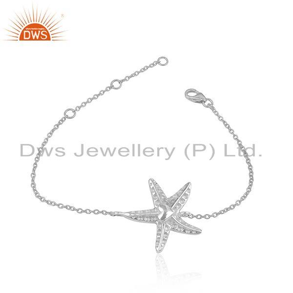 Star Fish Design 925 Sterling Fine Silver Chain Bracelet Jewelry