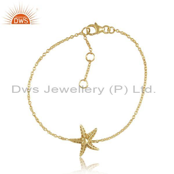 Star shaped sterling silver gold plated fancy chain bracelet