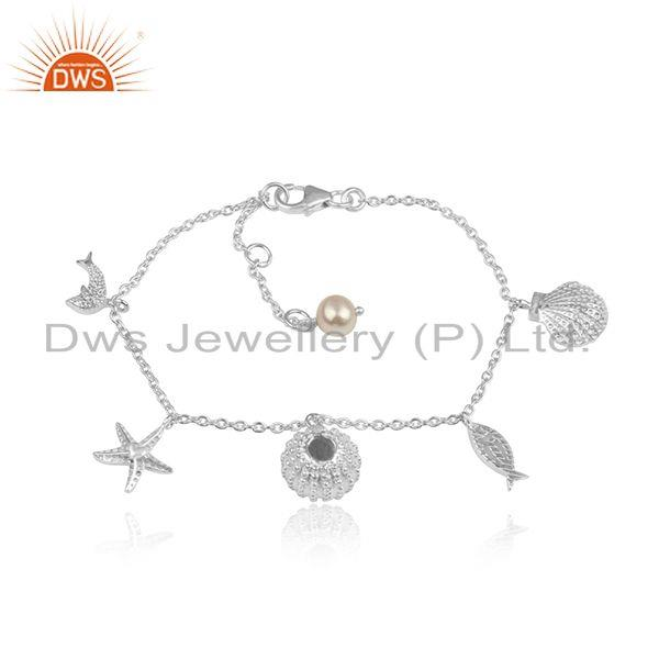 Natural Pearl Hanmdade Multi Charms Design Sterling Silver Bracelet