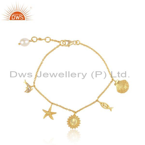 Handmade yellow gold on silver 925 sea charms pearl bracelet