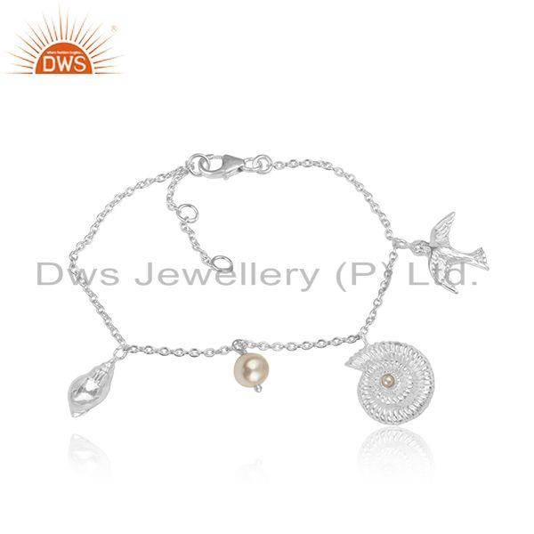 Natural Pearl Gemstone 925 Sterling Fine Silver Charms Bracelet