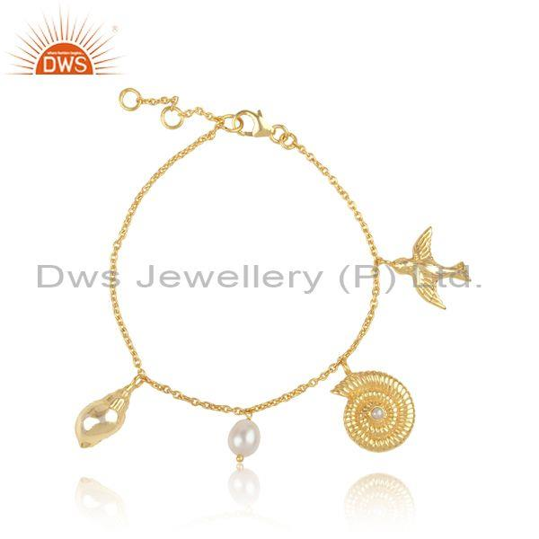 Designer Handmade Gold on Silver 925 Sea Charms Pearl Bracelet