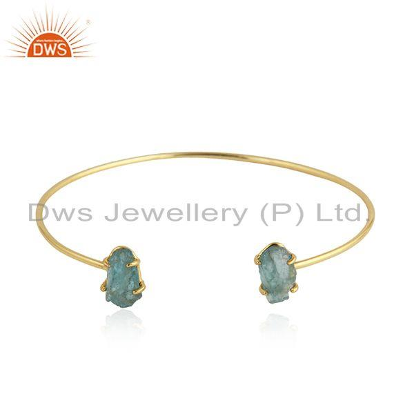 Prong Set Apatite Gemstone Gold Plated Silver Cuff Bangle Jewelry