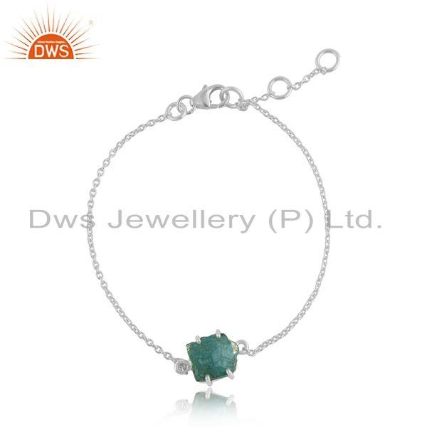 Prong Set Apatite Gemstone Fine Sterling Silver Chain Bracelet