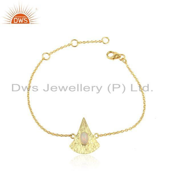 Texture Gold Plated Silver Ethiopian Opal Gemstone Chain Bracelet