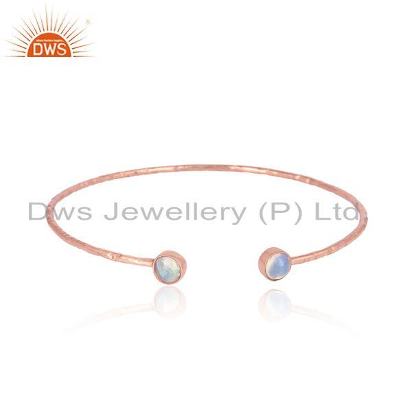 Rose gold on silver 925 ethiopian opal gemstone designer bangle