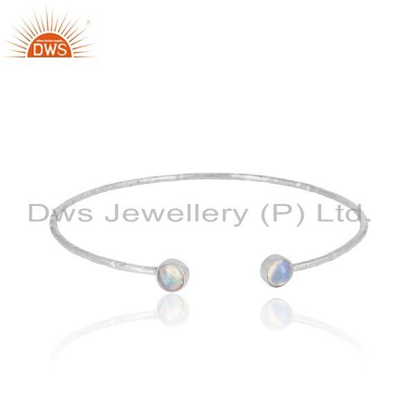 Rhodium On Sterling Silver Ethiopian Opal Gemstone Designer Bangle