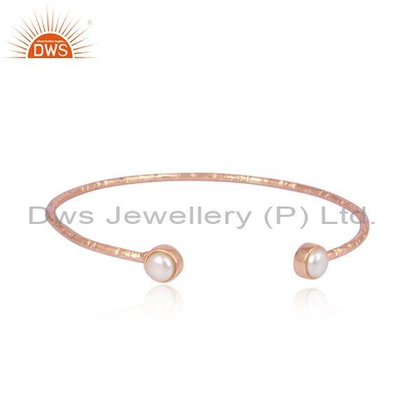 Pearls set rose gold sterling silver handmade statement cuff