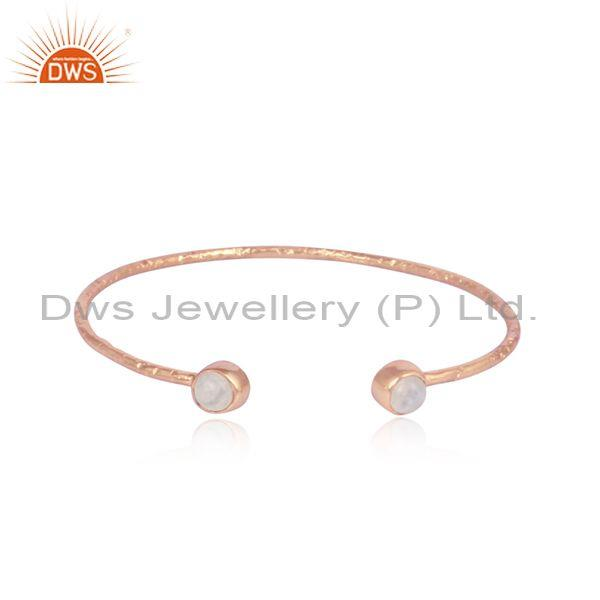 Rainbow moon stone rose gold on silver statement cuff bangle