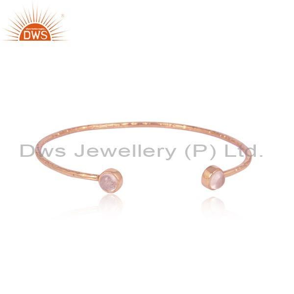 Rose quartz set rose gold 925 silver handmade statement cuff