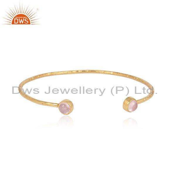Rose quartz set gold on 925 silver statement cuff bangle