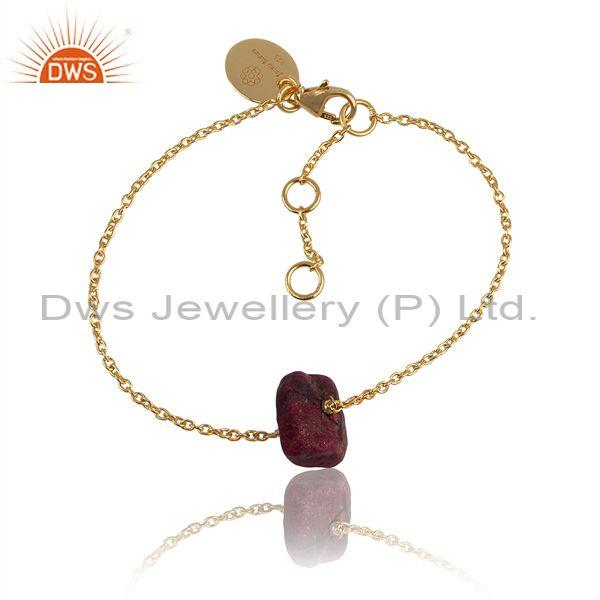 Ruby Charm Set Gold On 925 Sterling Silver Classic Bracelet