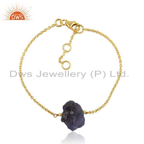 Tanzanite Gemstone Designer 18k Gold Plated Silver Chain Bracelet