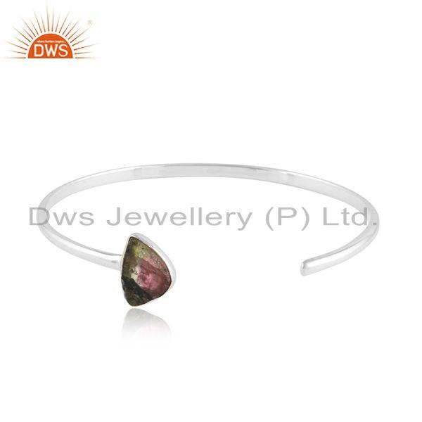 Bio Tourmaline Gemstone Sterling Fine Silver Sleek Cuff Bangles