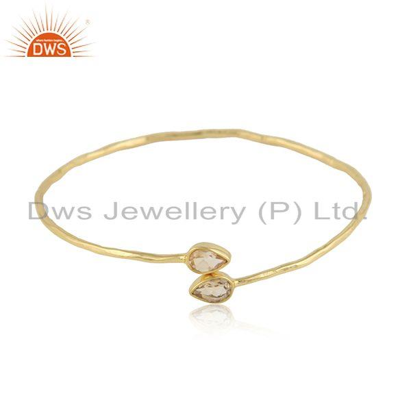 Natural citrine gemstone handmade gold plated 925 silver bangle