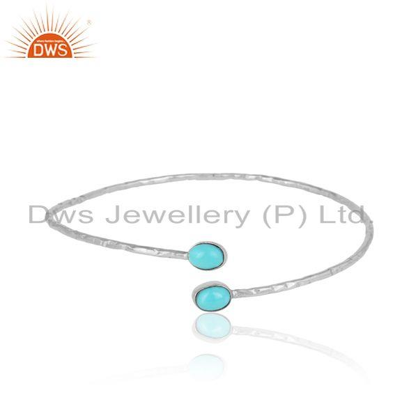 Arizona Turquoise Gemstone White Rhodium on 925 Silver Bangles