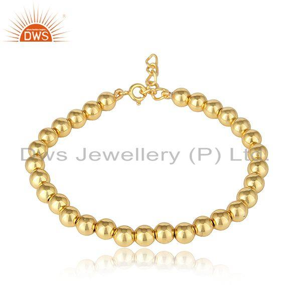 Yellow gold plated silver beaded designer womens bracelet jewelry